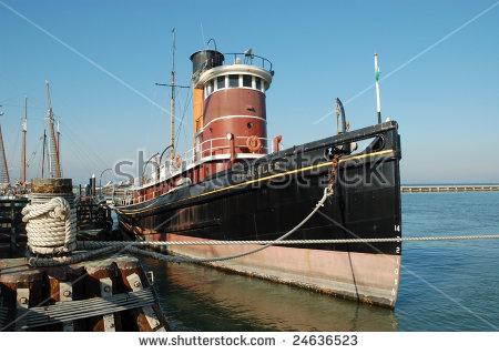 Vintage Tugboat On Display; Hyde Street Pier; San Francisco.