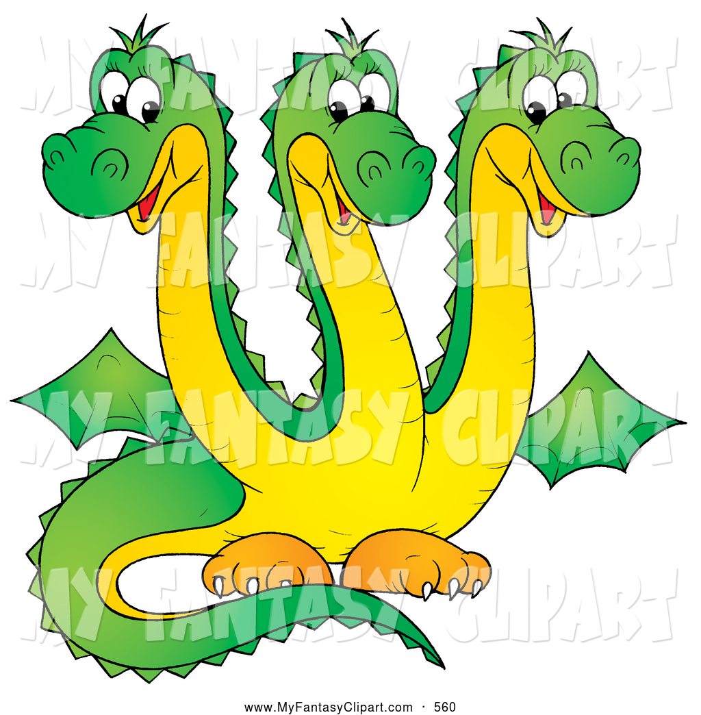Clip Art of a Cute Green Three Headed Dragon Hydra with Yellow.