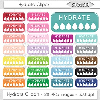 Hydrate Clipart Hydration Clipart Drinking Reminder Water Bottles  Scrapbooking.