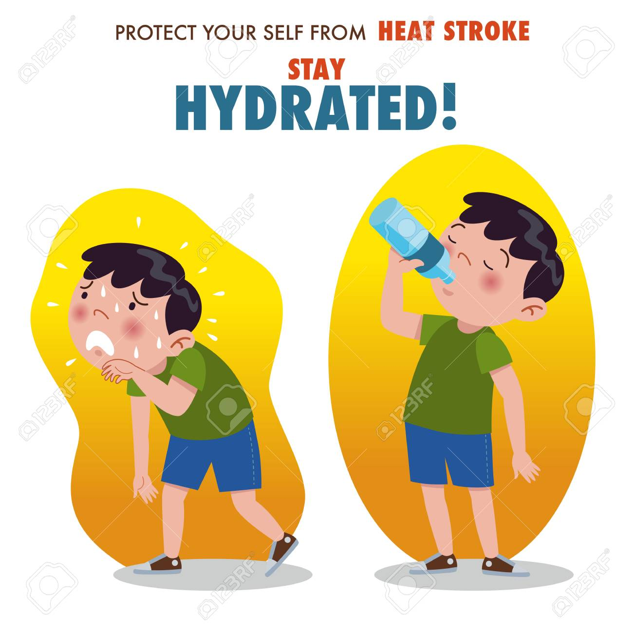 Protect yourself from heat stroke, Stay hydrated. Illustration...