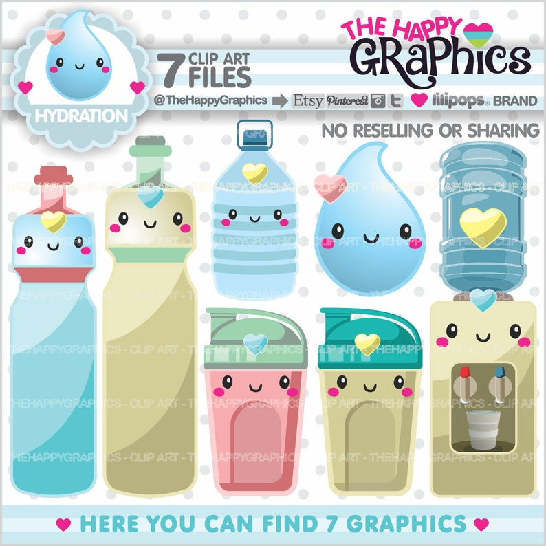 Hydration Clipart, Hydration Graphics, COMMERCIAL USE, Hydrate Clipart,  Planner Accessories, Wellness Clipart, Water Bottle.