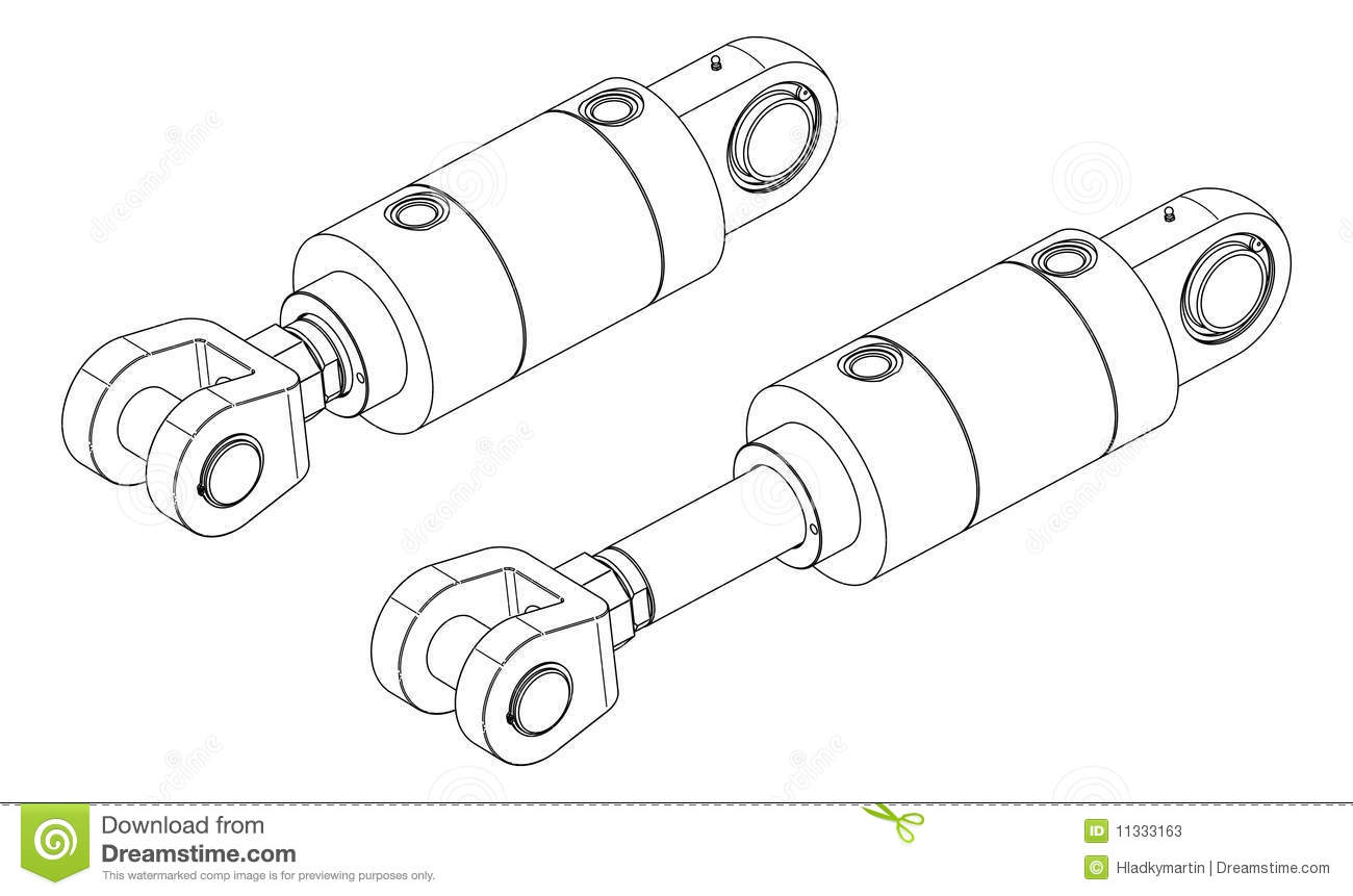 Hydraulic Cylinder Stock Illustrations.