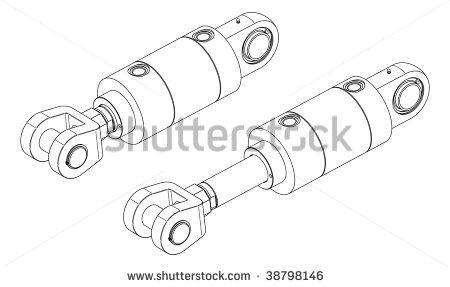 Hydraulic cylinder clipart #13