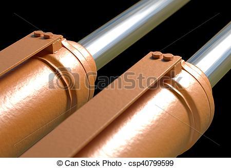 Stock Illustration of machine piston hydraulic system industrial.