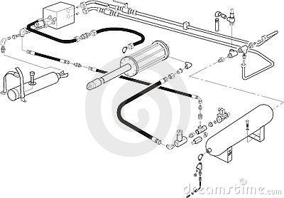 Hydraulic Cylinder Stock Illustrations.