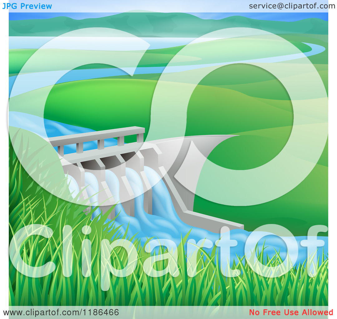 Clipart of a Hydroelectric in a Hilly Landscape.