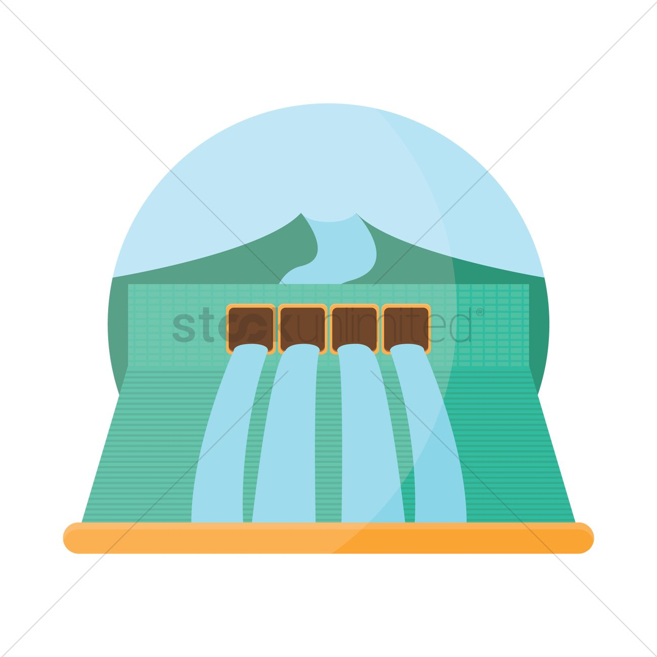 Hydroelectric power station Vector Image.