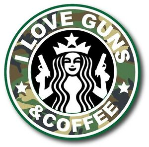 "Details about Fits HYDRO FLASK I Love Guns And Coffee Camo Starbucks Funny  Sticker Decal 3.8""."