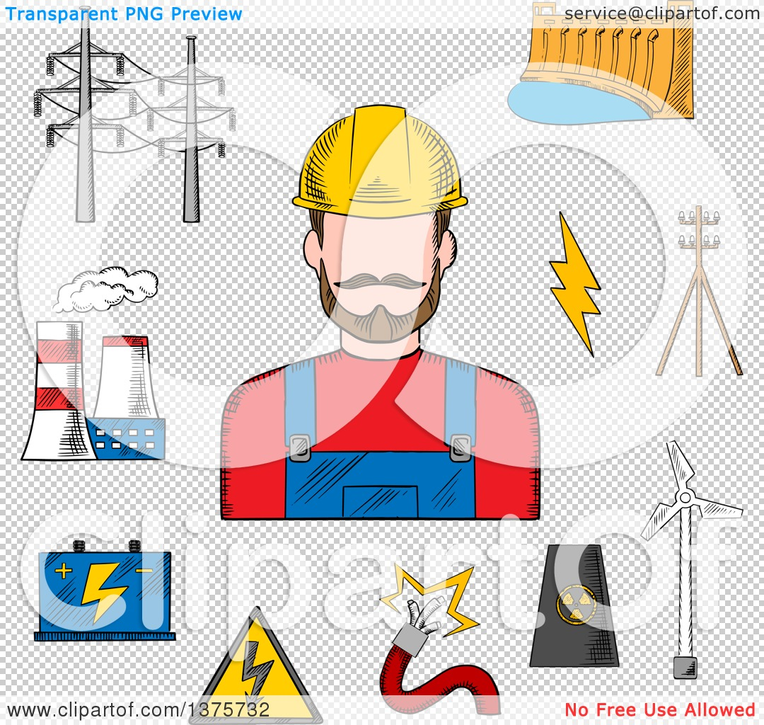 Clipart of a Sketched Electric Station, Hydro and Wind Energy.