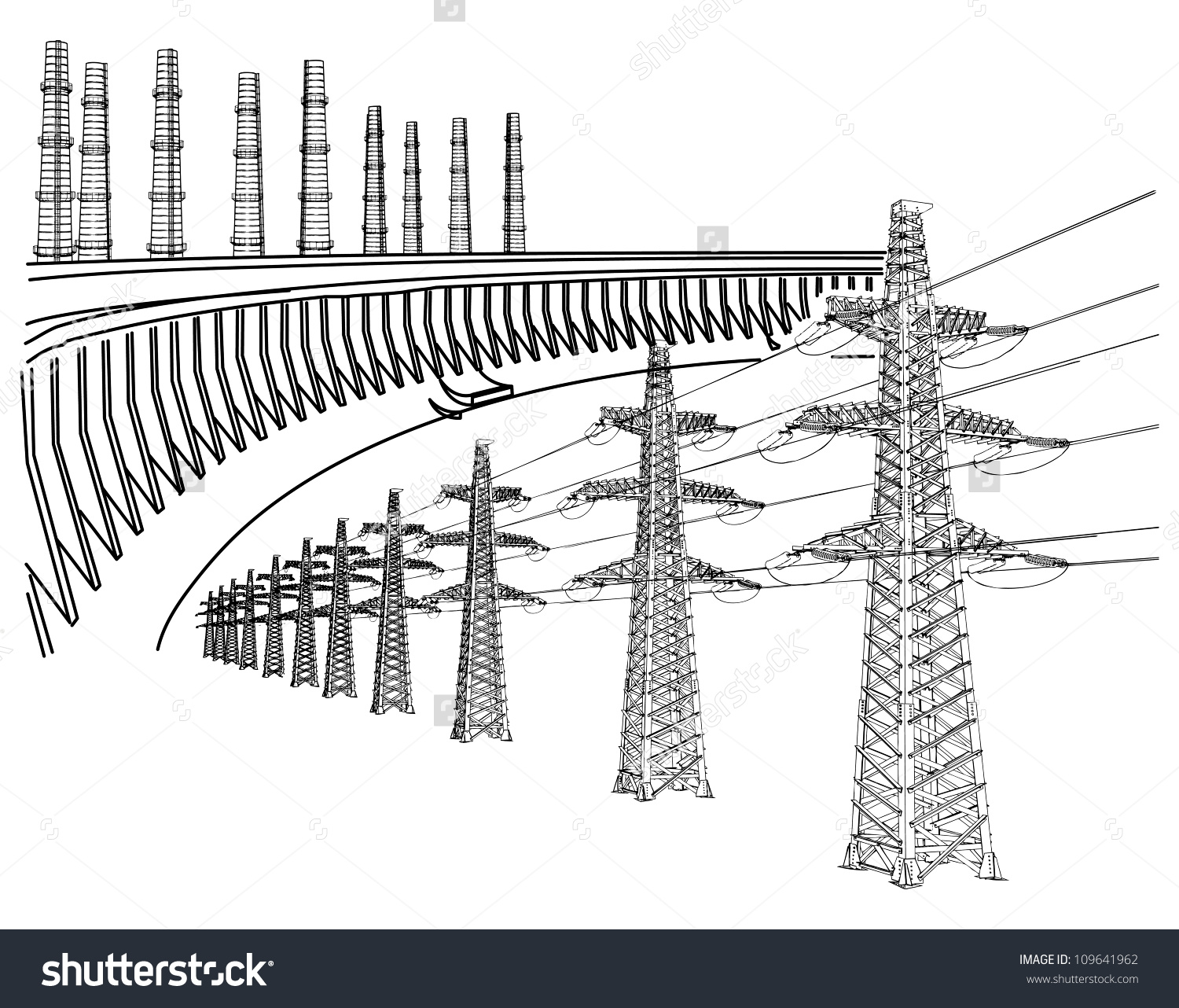 Power Transmission Line Dnieper Hydro Power Stock Vector 109641962.