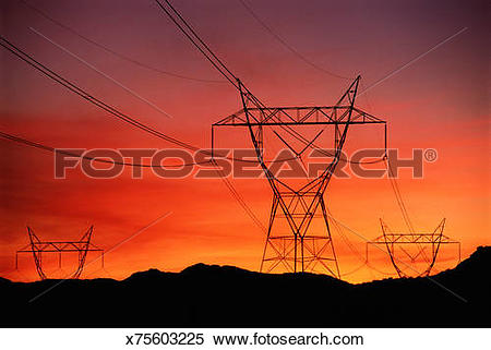 Stock Image of ELECTRIC HYDRO LINES x75603225.