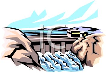 Royalty Free Clipart Image: Hydroelectricity Dam.