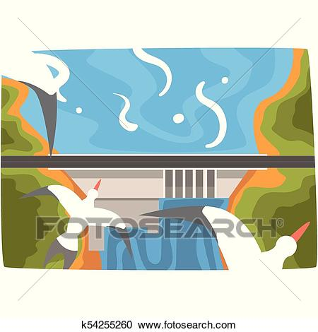 Hydroelectric power station, hydro energy industrial concept, renewable  resources horizontal vector illustration Clipart.