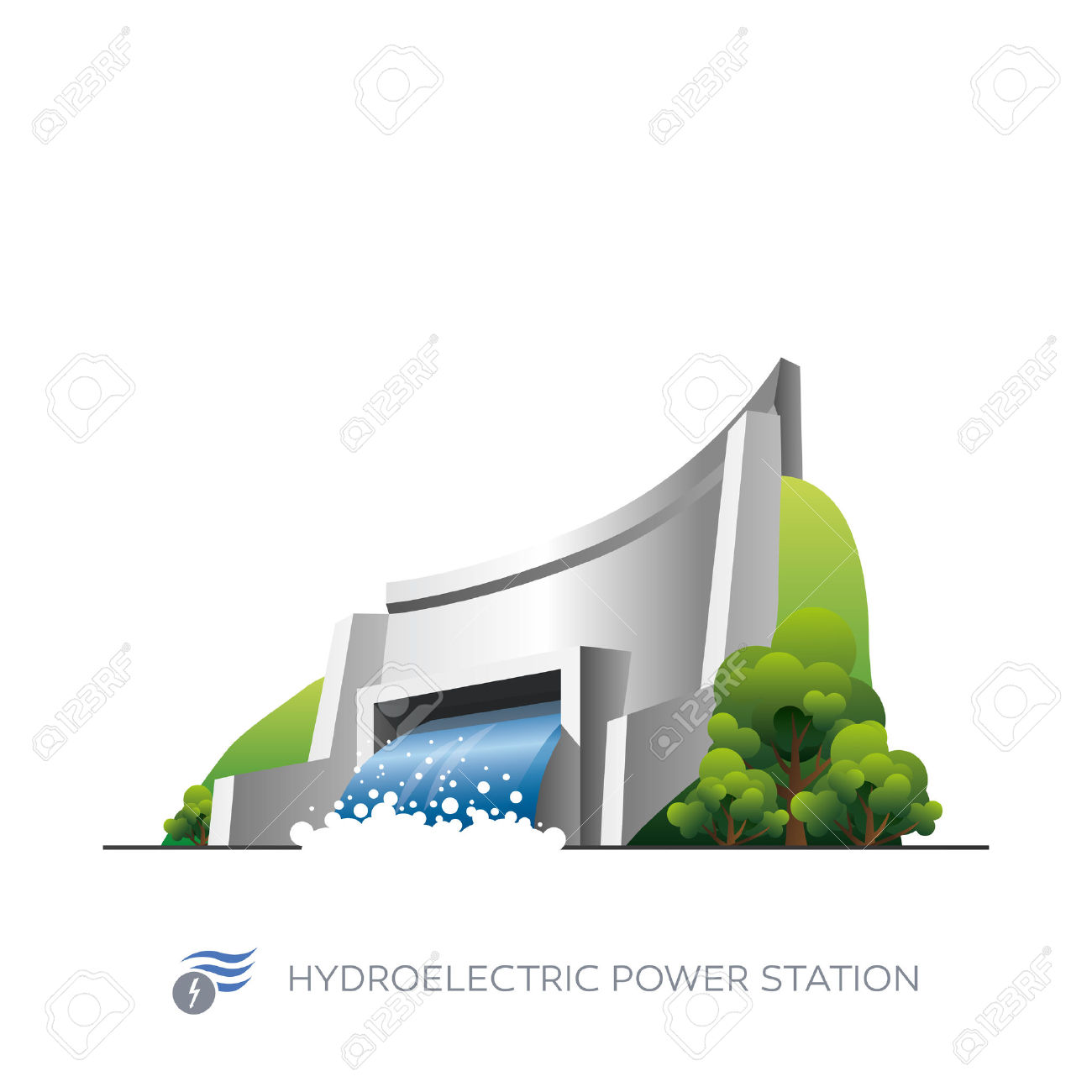 Hydroelectric power station clipart #11