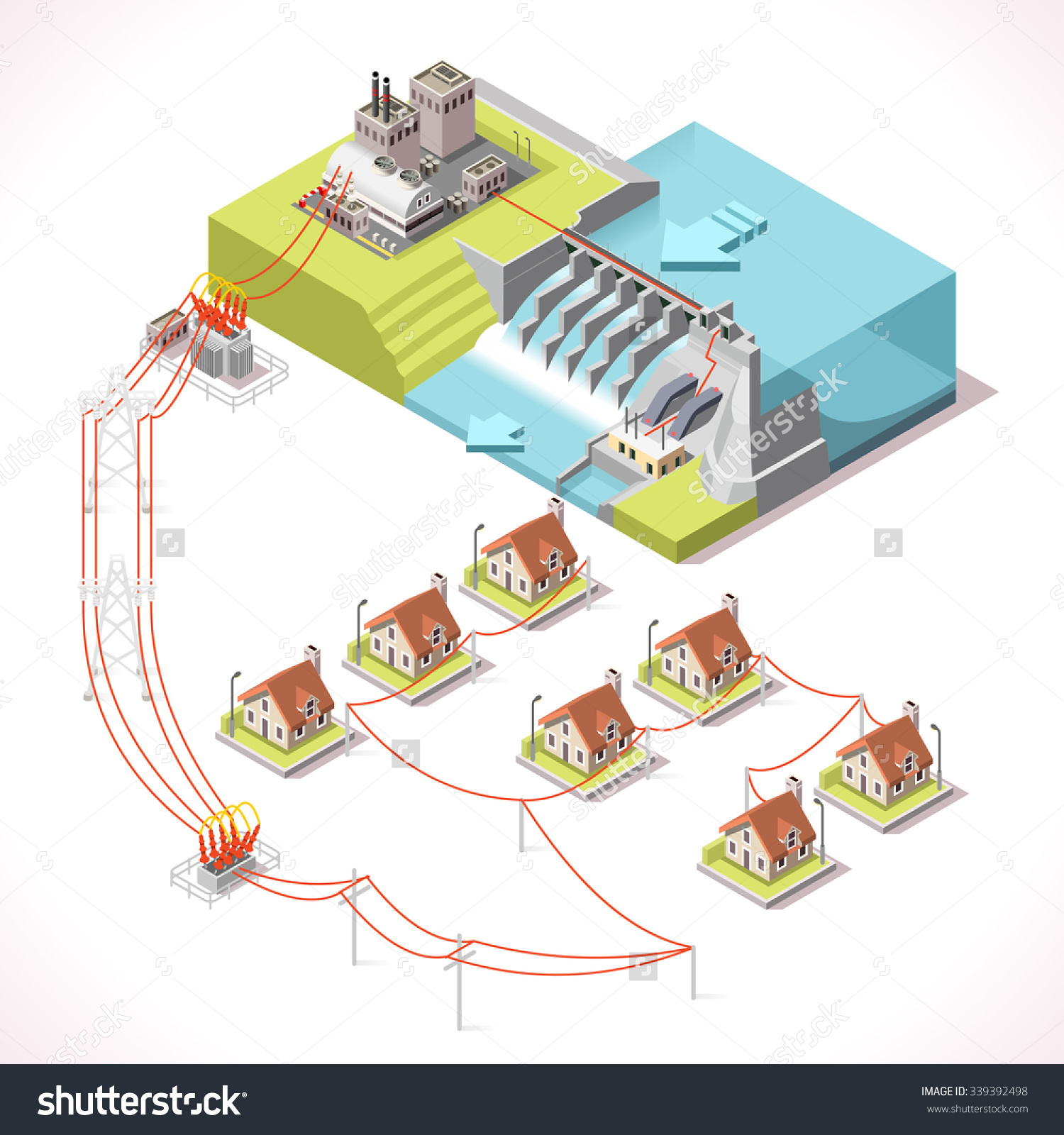Hydroelectric Power Plant Factory Electric Water Stock Vector.