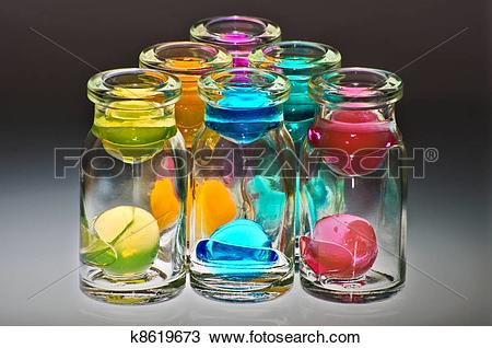 Stock Photo of Glass small bottles with hydrogel k8619673.