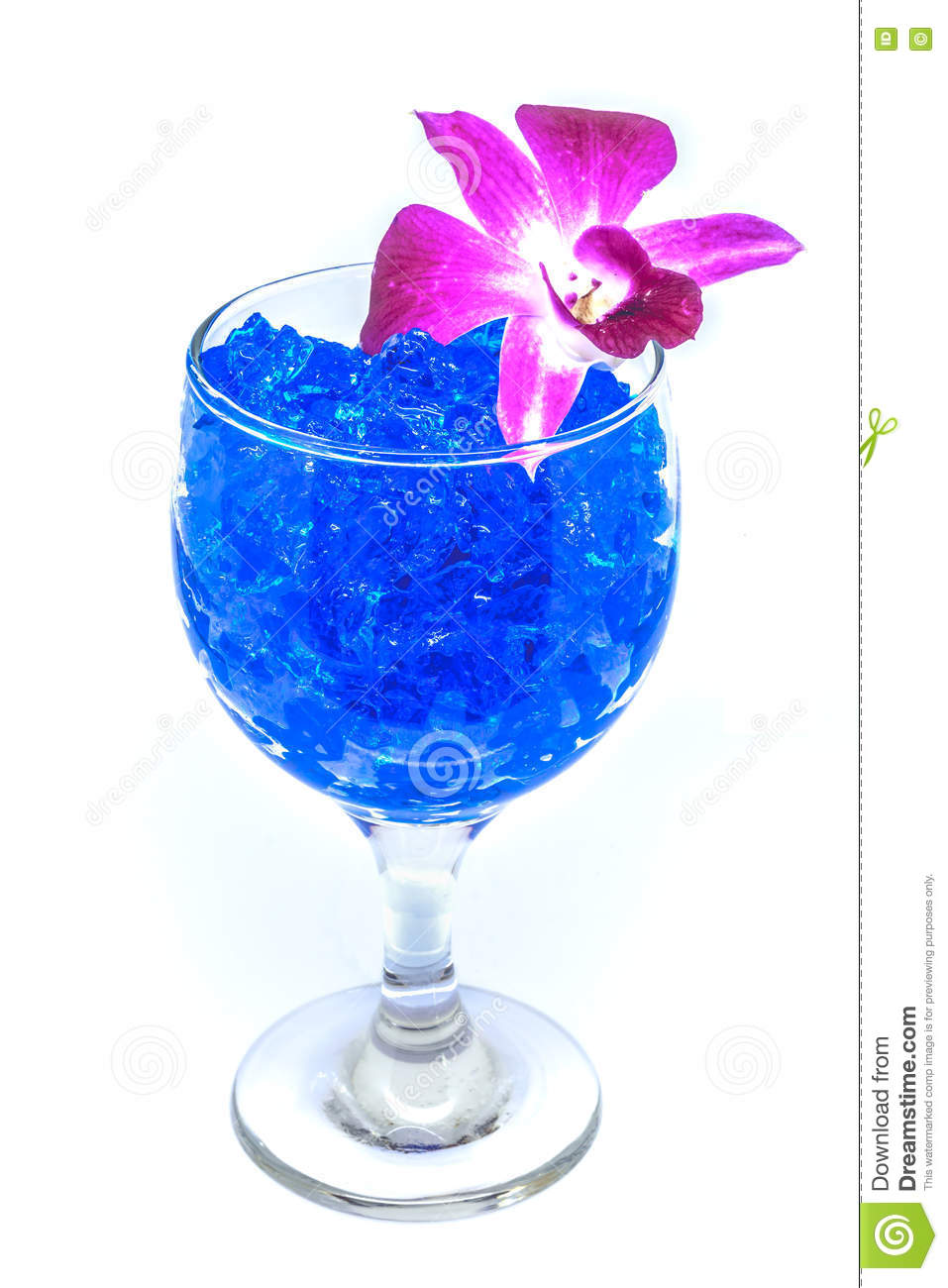 Beautiful Flowers In Wine Glass With Hydrogel Isolated On White.