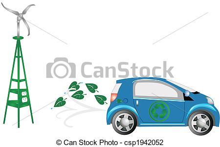 Vector Illustration of Energy efficient car, gone green.