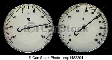 Stock Photo of Thermometer and hydrometer for weather forecast.