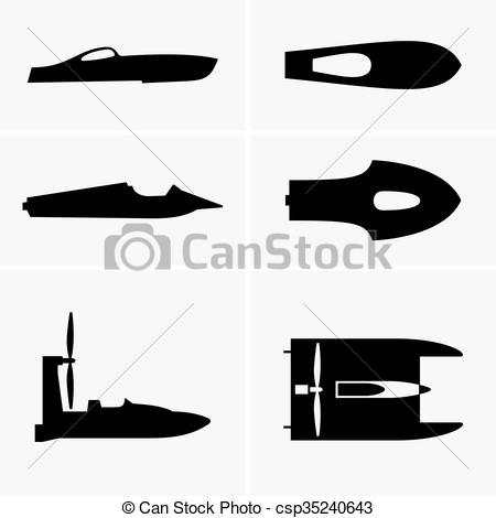 EPS Vector of Hydroplane boats, shade pictures csp35240643.