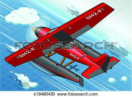 Clipart of Isometric Artic Hydroplane in Flight in Rear View.