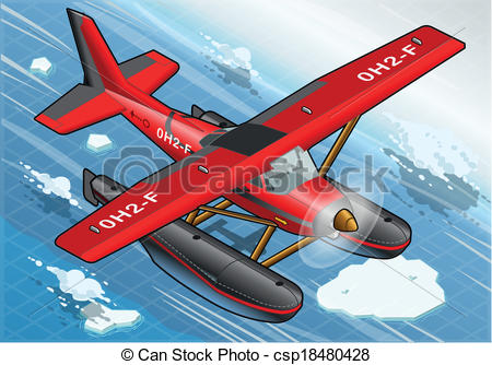 Vector Illustration of Isometric Artic Hydroplane in Flight in.