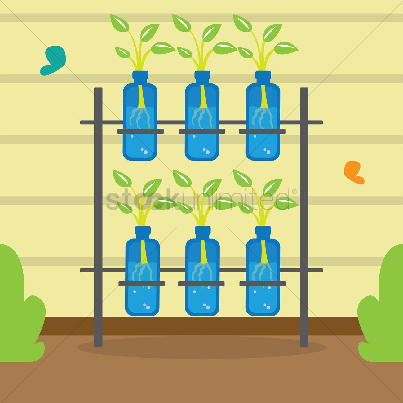 Free Hydroponic plants Vector Image.