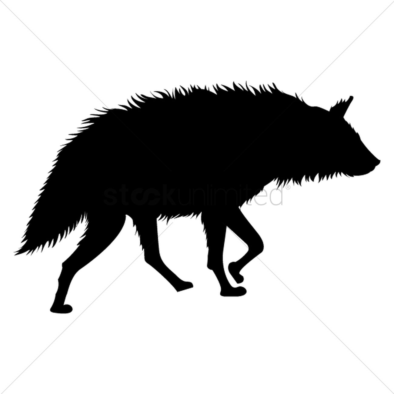 Silhouette of hyena Vector Image.