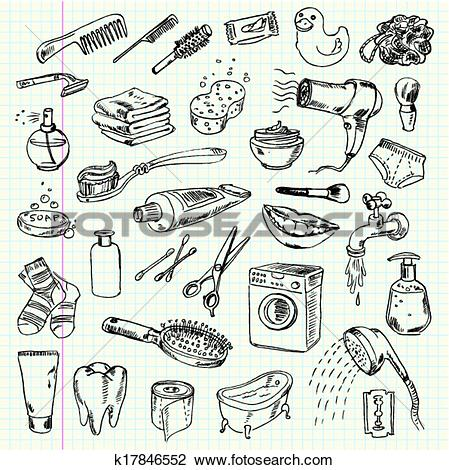Clipart of hygiene and cleaning products k17846552.