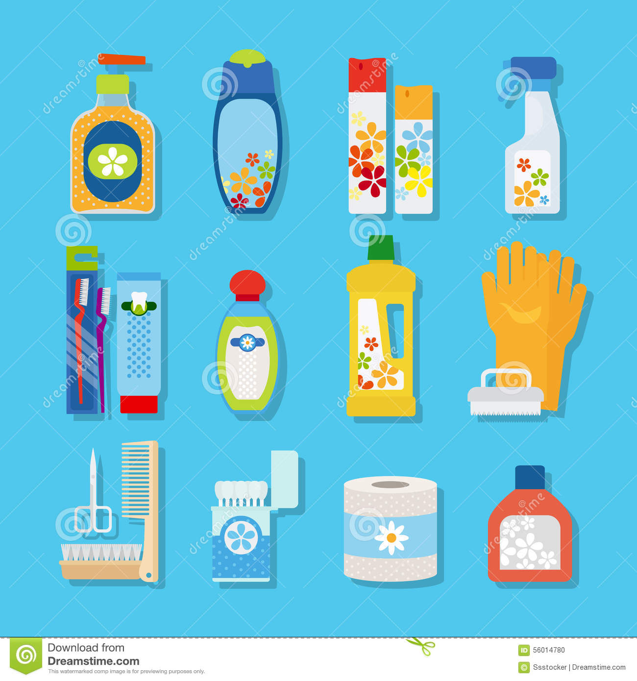 Hygiene And Cleaning Products Flat Icons Stock Vector.
