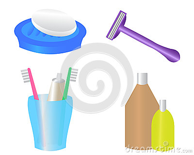 Personal Hygiene Items Stock Illustrations.