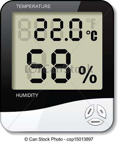 EPS Vectors of vector digital thermometer hygrometer humidity icon.