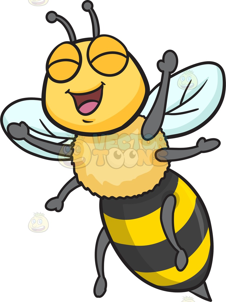 An Excited And Overjoyed Bee Cartoon Clipart.