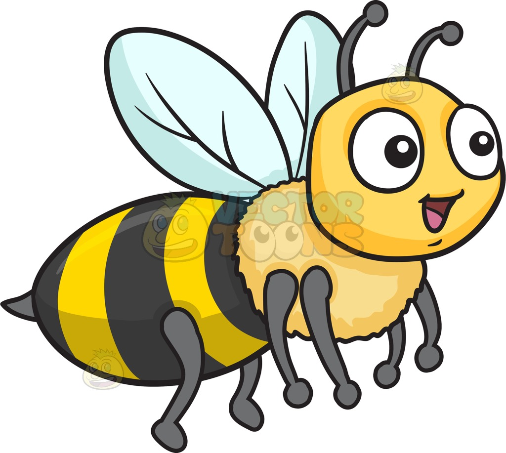 A Bee Fawning In Delight Cartoon Clipart.