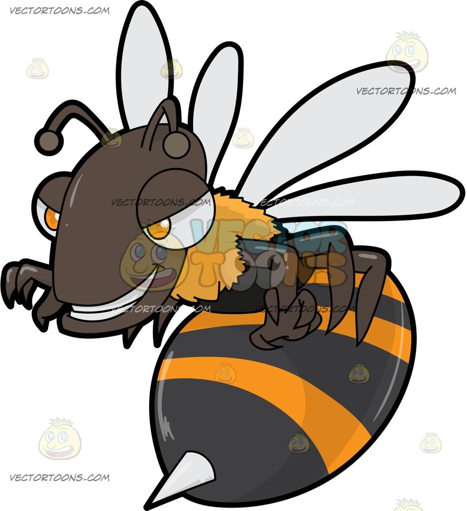 A Scary Killer Bee Teasing A Prey Cartoon Clipart.