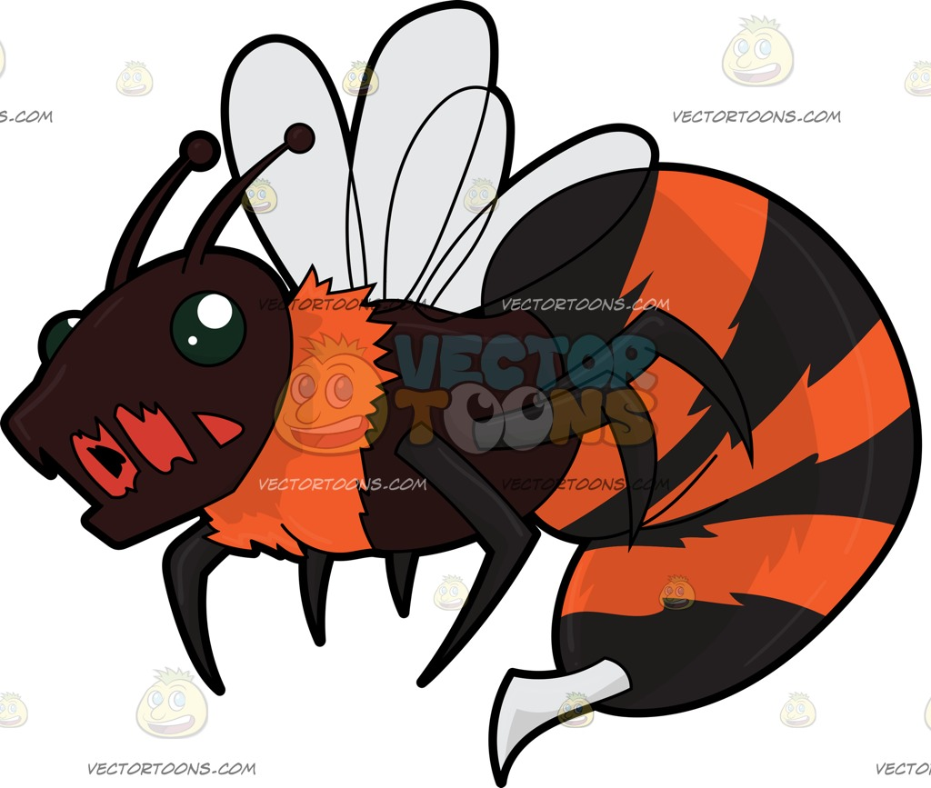 A Horrific Killer Bee Cartoon Clipart.
