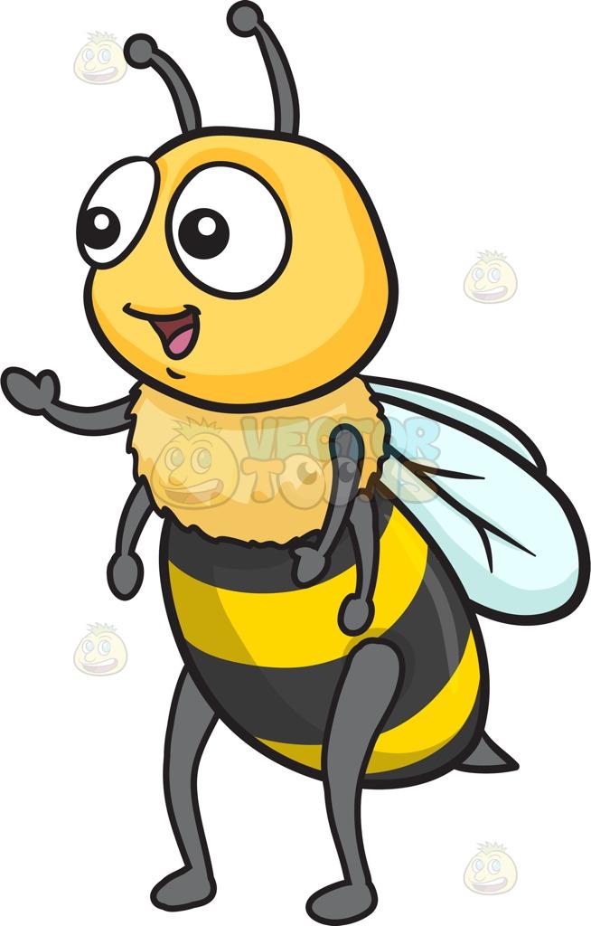 A Warm And Friendly Cute Bee Cartoon Clipart.