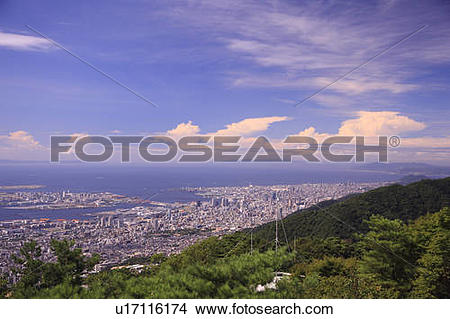 Stock Photo of Cityscape of Kobe from Mt. Rokko, Hyogo Prefecture.