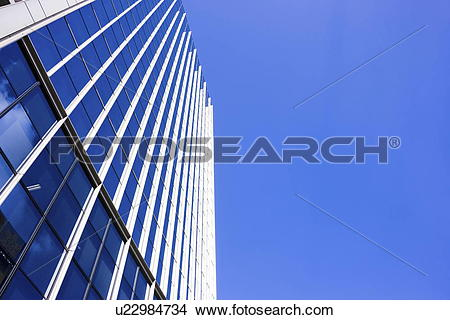 Stock Photo of Office building under sky, copy space, Nishinomiya.