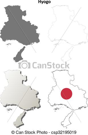 Vector Clip Art of Hyogo blank outline map set.