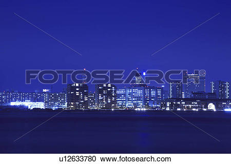 Stock Photography of Port island at night, Kobe city, Hyogo.