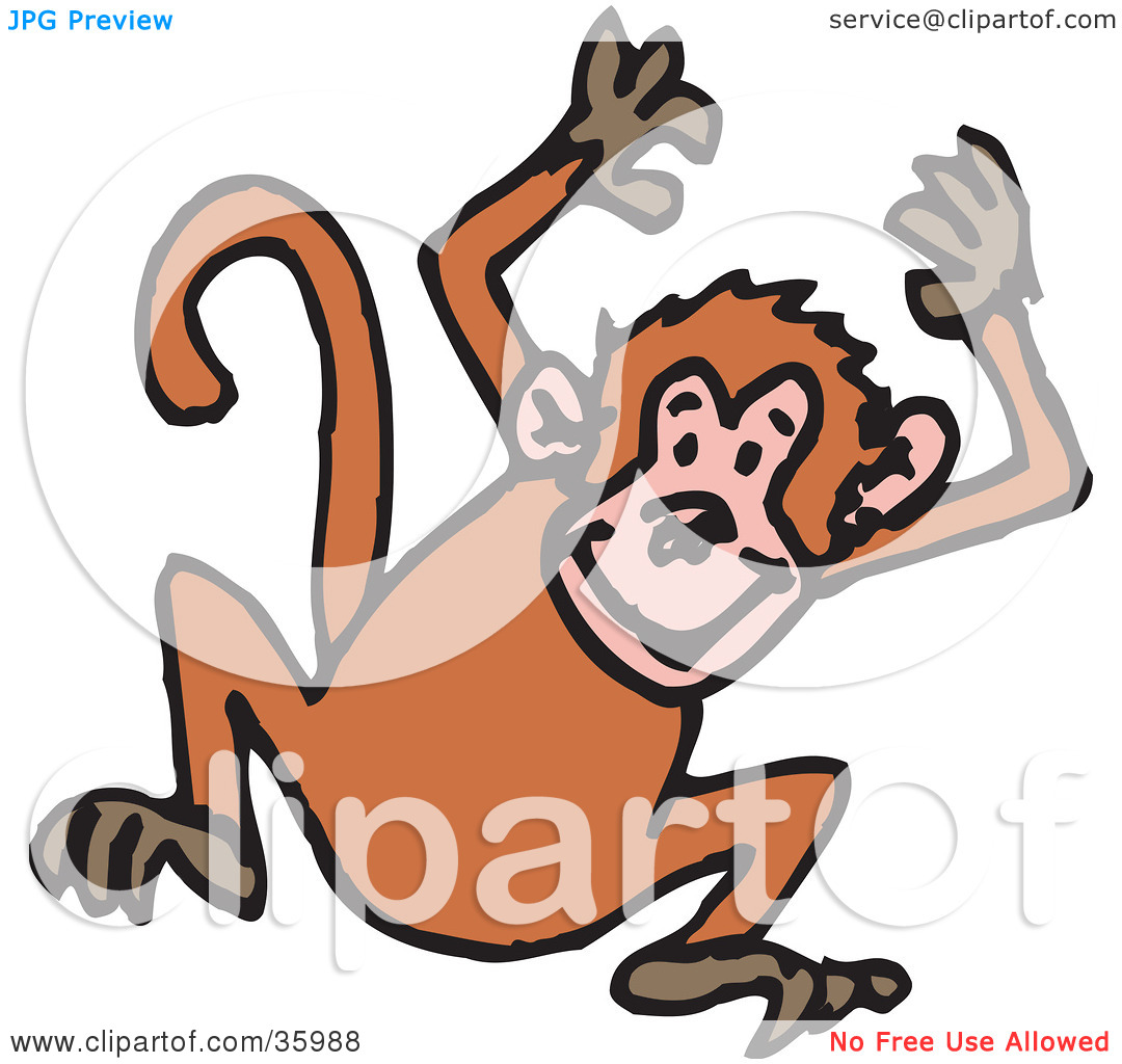 Clipart Illustration of a Hyper Monkey Jumping Up And Down With.