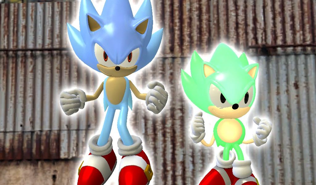 HYPER Modern Sonic and Classic Sonic Posing by Shadow.