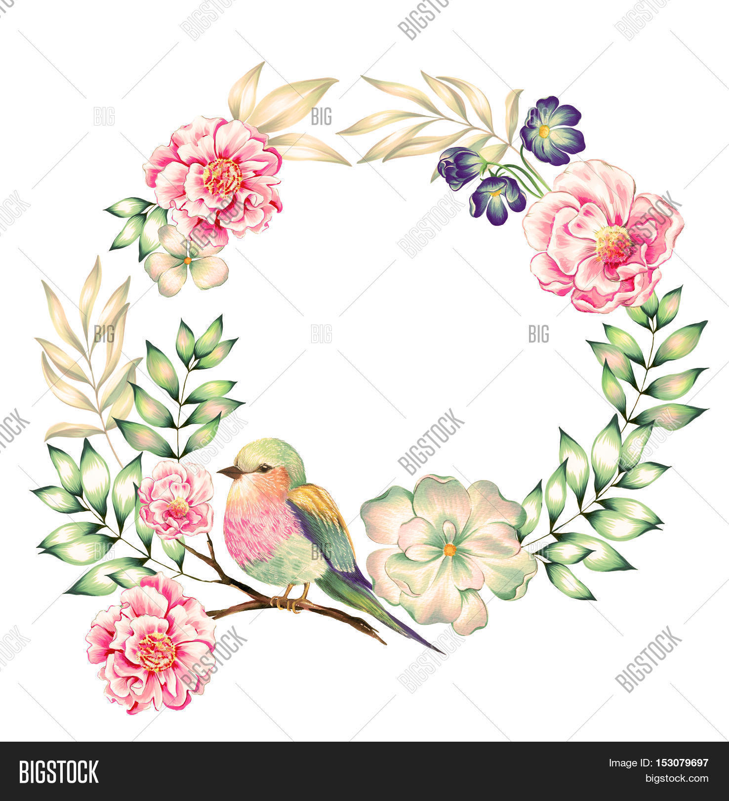 bouquet of exotic flower with a small colorful tropical bird.