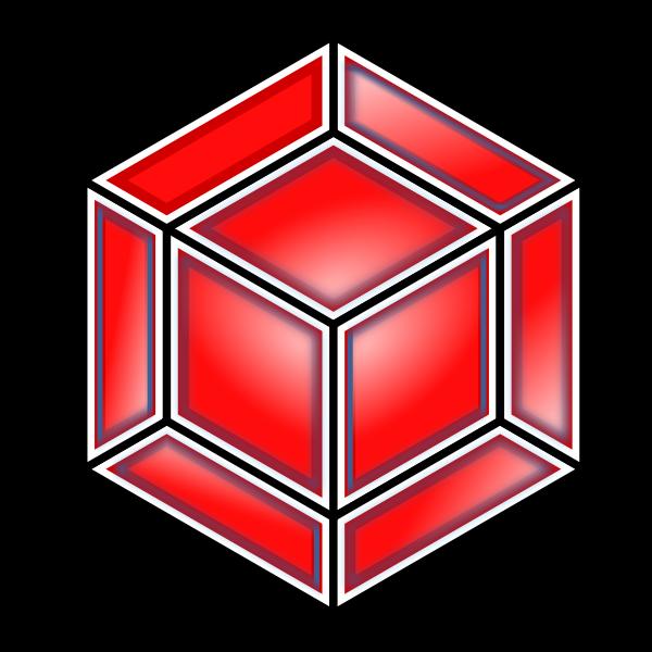 Hyper Cube, Red SVG Vector file, vector clip art svg file.