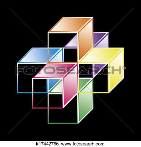 Stock Illustration of hypercube.