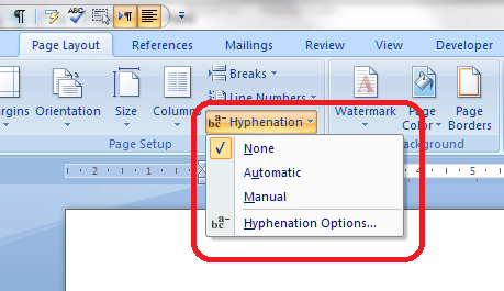 How to add and remove hyphenation in a Word document.