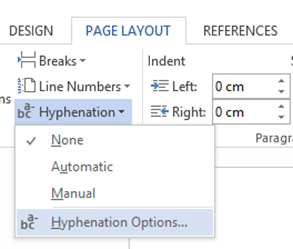 Where is hyphenation option in Word.