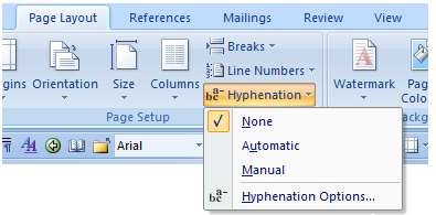 Word: Turn off automatic hyphenation.