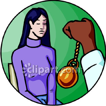 Hypnotist Hypnotizing a Woman Clip Art.